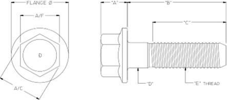 hex flange bolts diagram