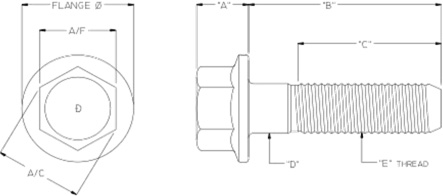 hex flange bolts diagram